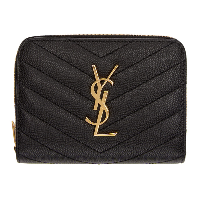 Black Small Compact Zip Around Wallet by Saint Laurent
