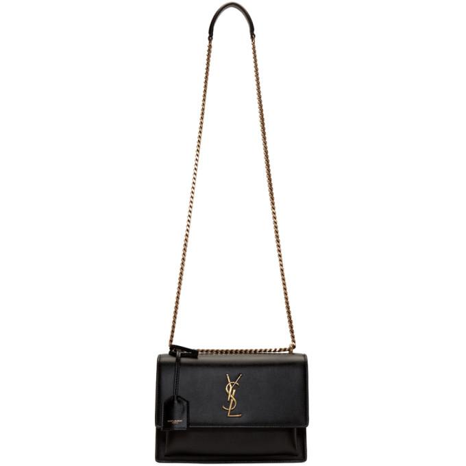 SAINT LAURENT Black Medium Sunset Monogramme Chain Bag