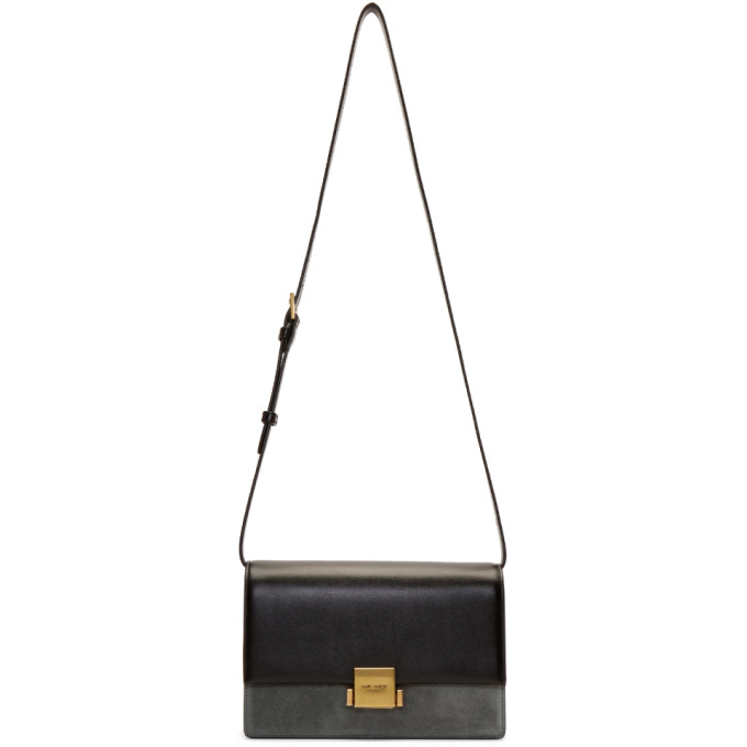 SAINT LAURENT BLACK SUEDE BELLECHASSE FOLDED BAG