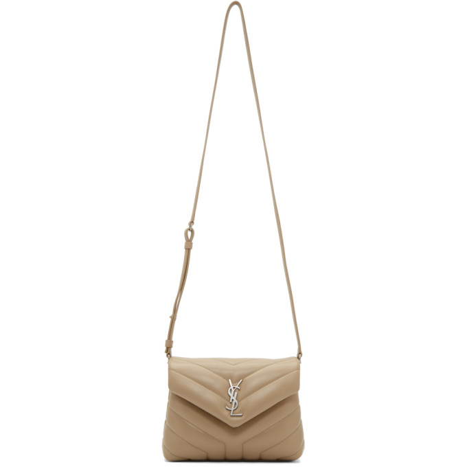 SAINT LAURENT BEIGE QUILTED TOY LOULOU STRAP BAG