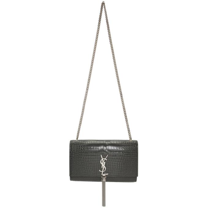 SAINT LAURENT Grey Croc Medium Kate Chain Tassel Bag