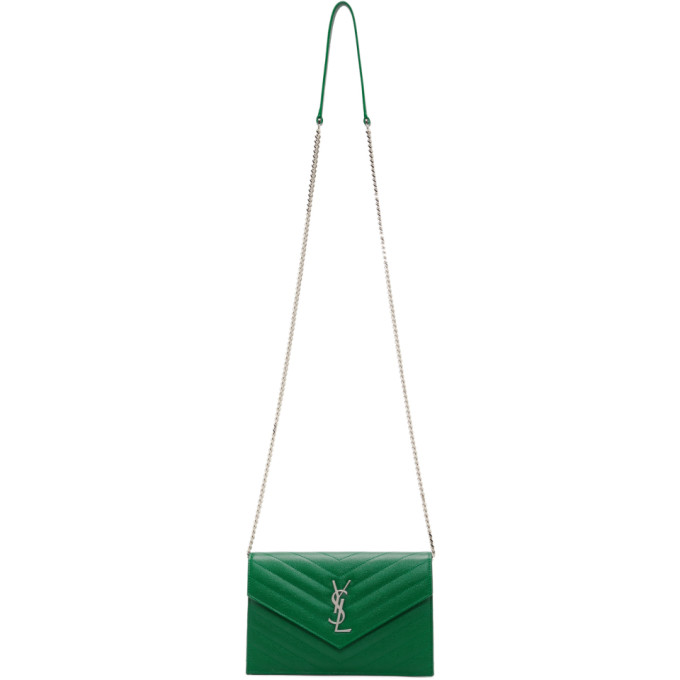SAINT LAURENT GREEN ENVELOPE CHAIN WALLET SHOULDER BAG