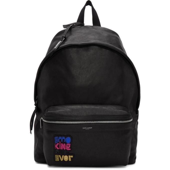 SAINT LAURENT Saint Laurent Smoking Forever Slogan Backpack - Black, 1086 Black