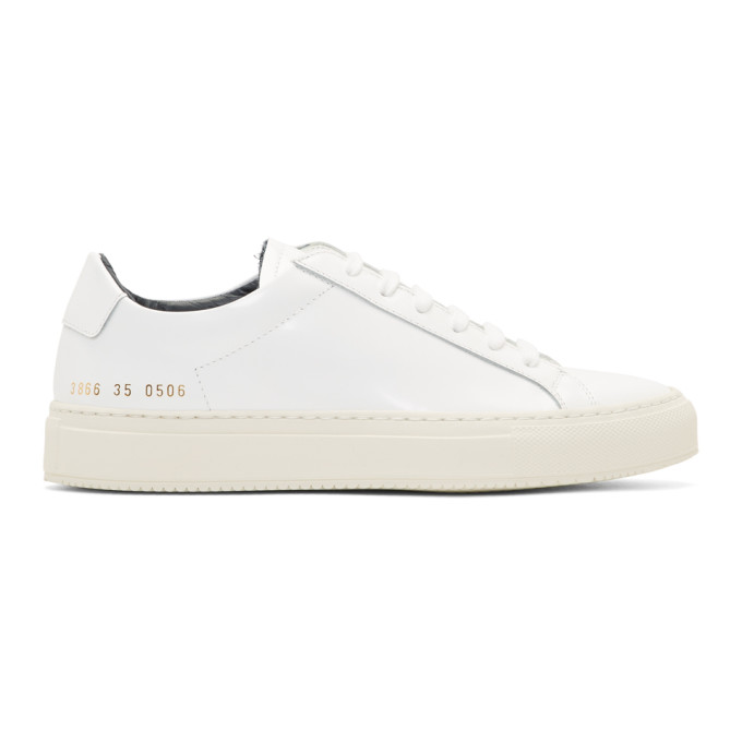 Woman By Common Projects White Achilles Premium Sneakers, 0506 Wht/Nv