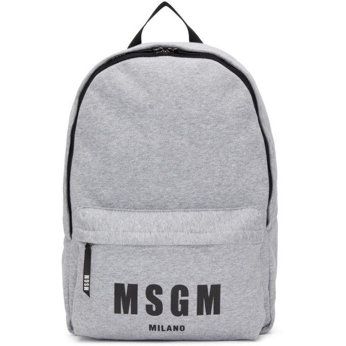 Grey Logo Jersey Backpack from SSENSE