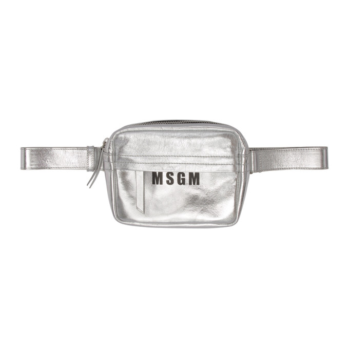 Msgm Silver Logo Belt Pouch in 080 Silver