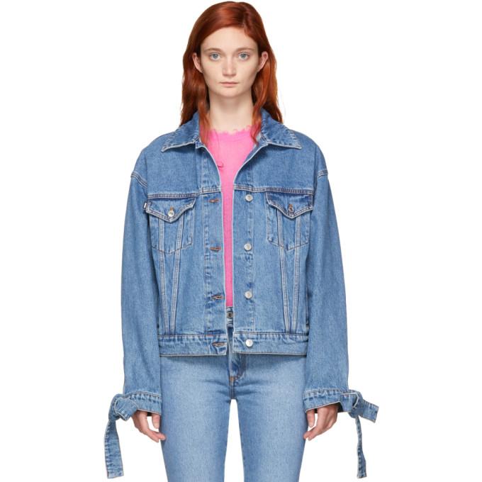 Washed Denim Crop Jacket in Blue