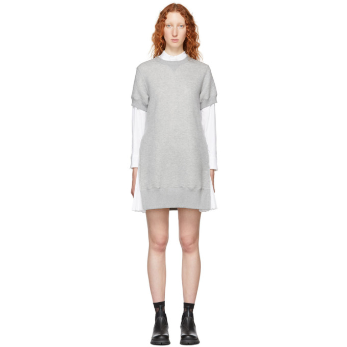 Sacai Grey Short Sponge Sweat Dress in 376 Ltgrey