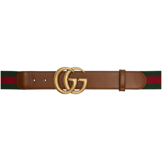 Gucci Brown Web Gg Belt in 8623 Brown