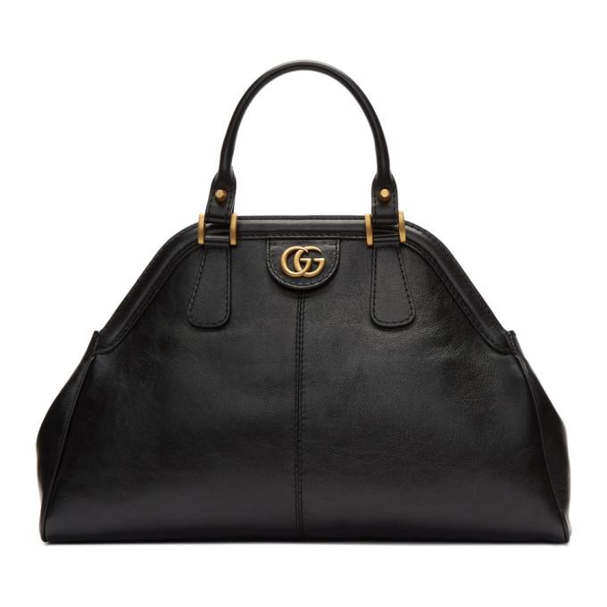 GUCCI BLACK SMALL LINEA TOP HANDLE BAG