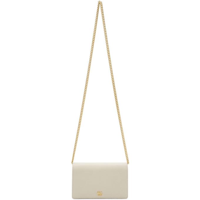 GUCCI WHITE PETITE MARMONT CHAIN BAG
