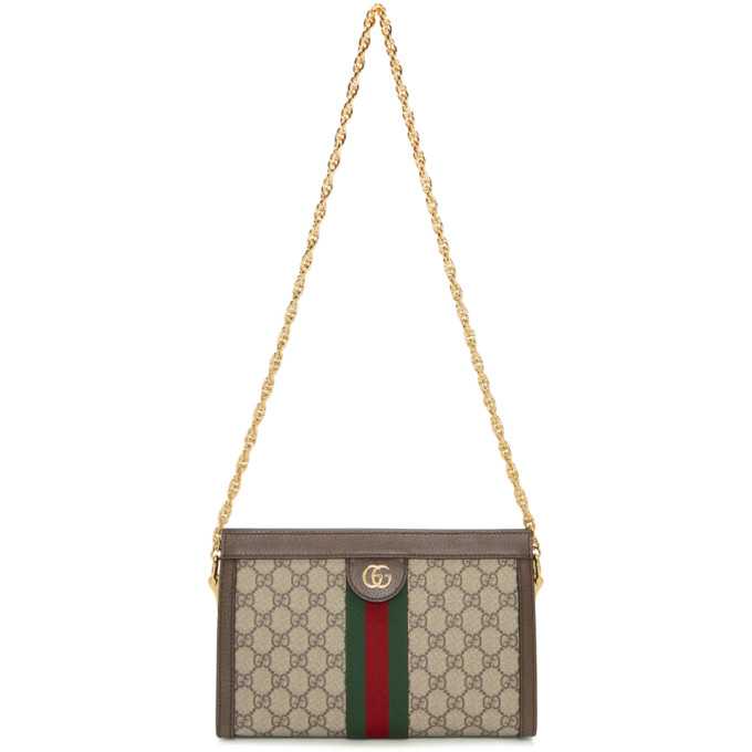 96426b5ca2b Gucci Ophidia Textured Leather-Trimmed Printed Coated-Canvas Shoulder Bag  In Neutrals