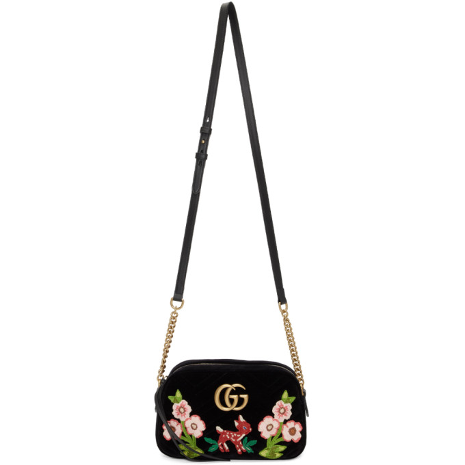 329adc571cbc GUCCI Black Small Velvet Gg Marmont 2.0 Camera Bag, 1093 Black ...