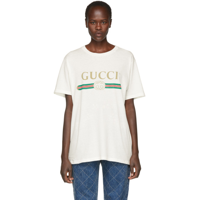 004e8070be7a Gucci Women's Faded Logo Floral Embroidered T-Shirt In White In 9234 ...
