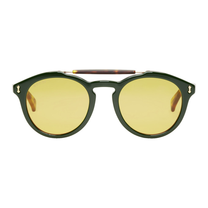 GUCCI GREEN AND RED OPULENT VINTAGE PILOT SUNGLASSES