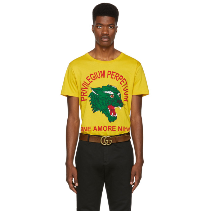 Men'S Panther Privilegium Graphic T-Shirt in Yellow