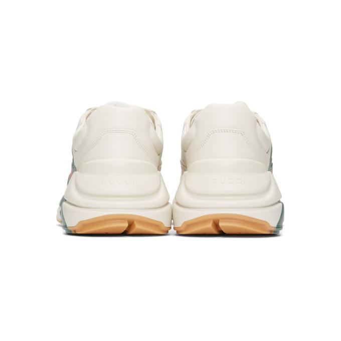 Gucci Rhyton Web-Print Leather Sneakers - White Size 6 M