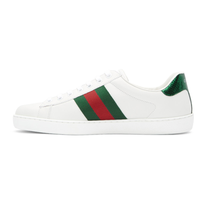 Gucci Ace Watersnake-Trimmed AppliquÉD Leather Sneakers - White In Blue