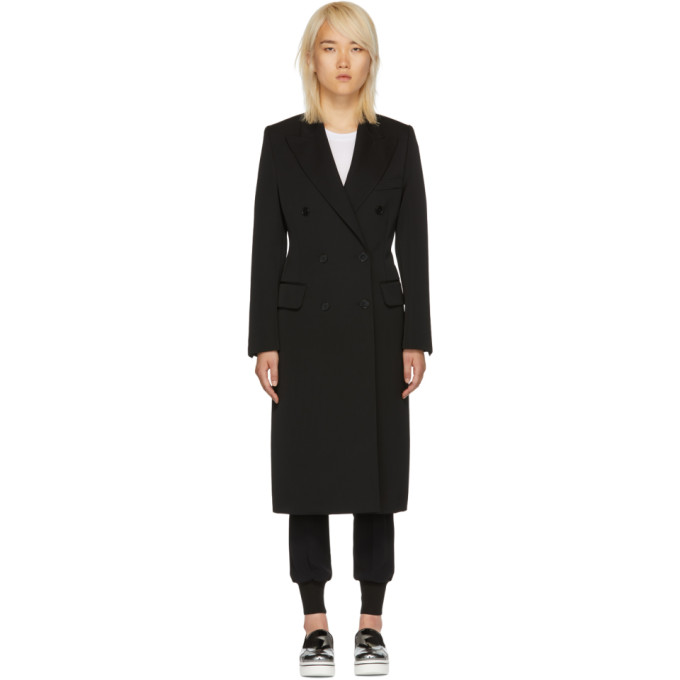 STELLA MCCARTNEY Black Double-Breasted Overcoat