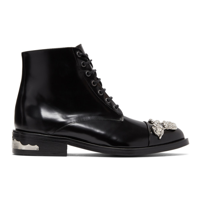 TOGA PULLA BLACK AND SILVER KNOT BOOTS