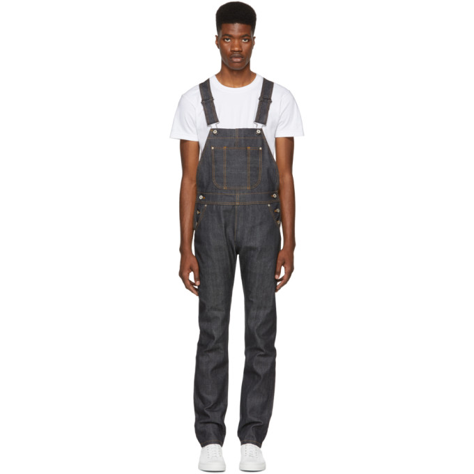 NAKED AND FAMOUS DENIM BLUE TWILL SELVEDGE DENIM OVERALLS
