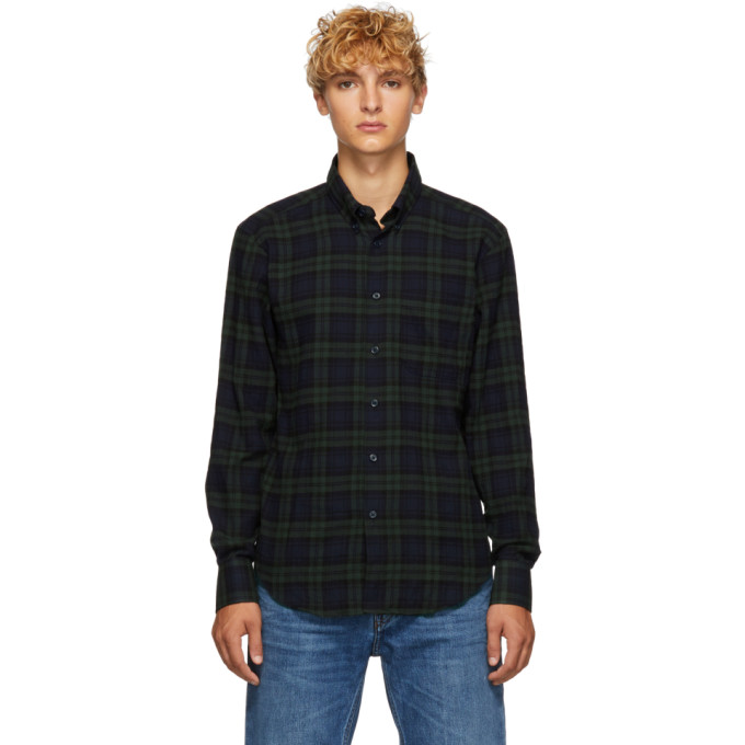 NAKED AND FAMOUS DENIM GREEN AND NAVY CHECK SHIRT