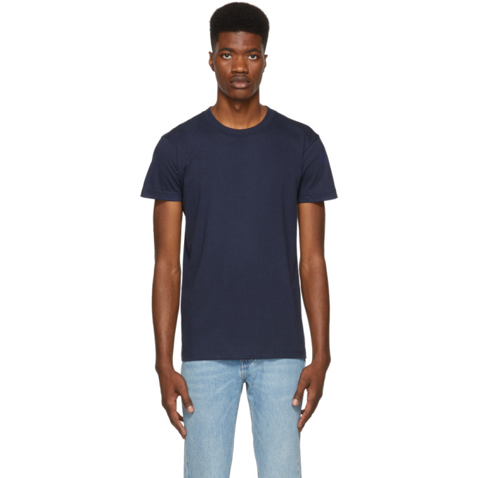 NAKED AND FAMOUS DENIM BLUE RINGSPUN COTTON T-SHIRT