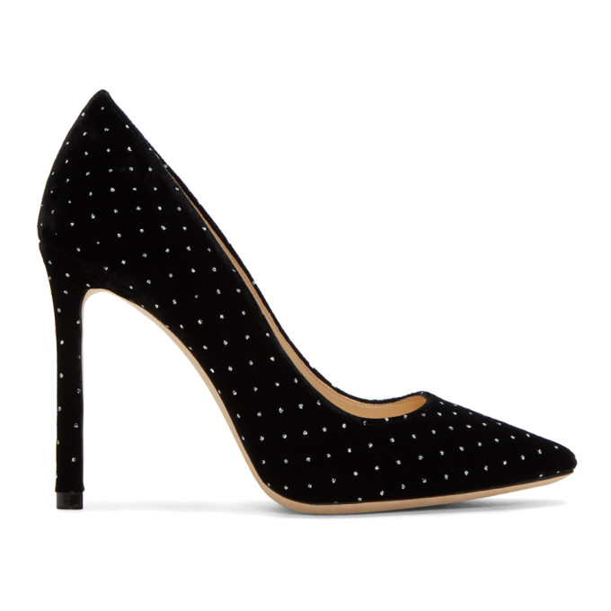 Romy 60Mm Glitter Spotted Velvet Pumps in Black/Silve