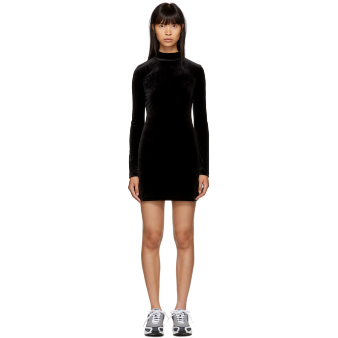 Marcelo Burlon County Of Milan Wings Velvet Mini Dress in Black/White