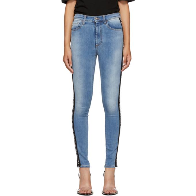 Vintage-Wash Skinny Jeans in Blue