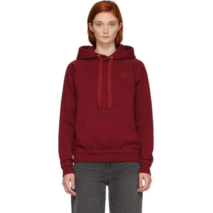 Malibu Flocked Cotton-Blend Jersey Hoodie in 70Rd Red