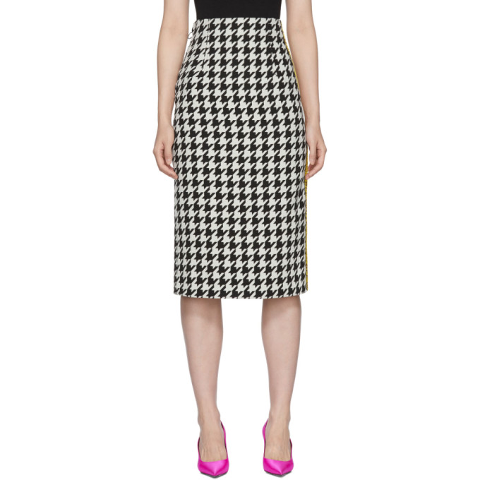 Taped Houndstooth Midi Skirt, Blk & Wht