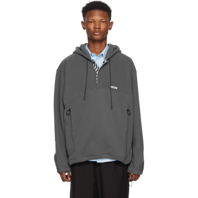 Oversized Hooded Fleece Anorak, 0800 Mdgrey