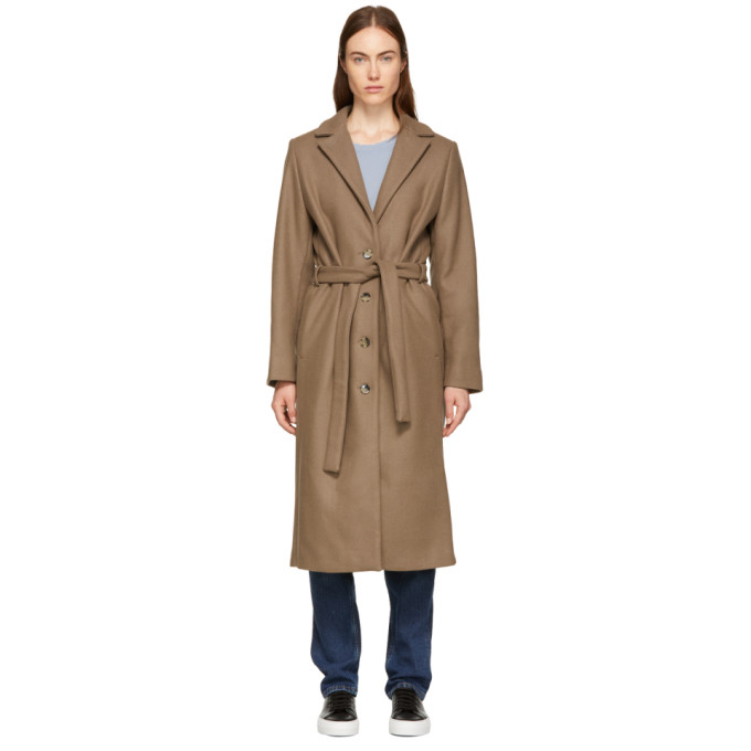 WON HUNDRED Won Hundred Brown Marina Belted Coat in 6017 Wood