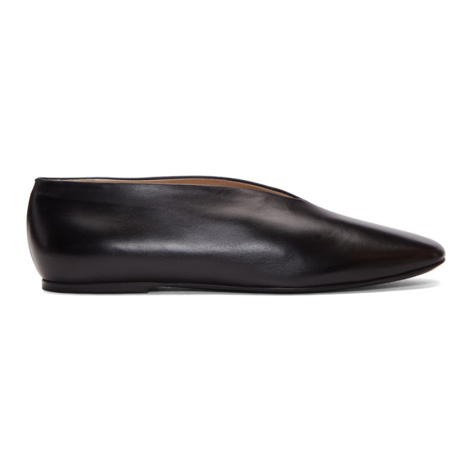 LEMAIRE BLACK LEATHER SLIPPERS