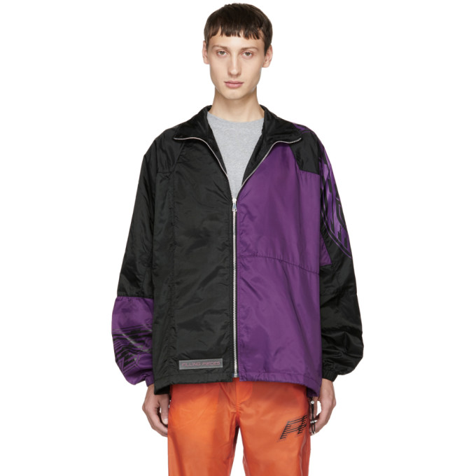 FILLING PIECES BLACK AND PURPLE PANELLED JACKET