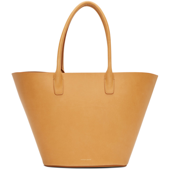 Triangle leather tote
