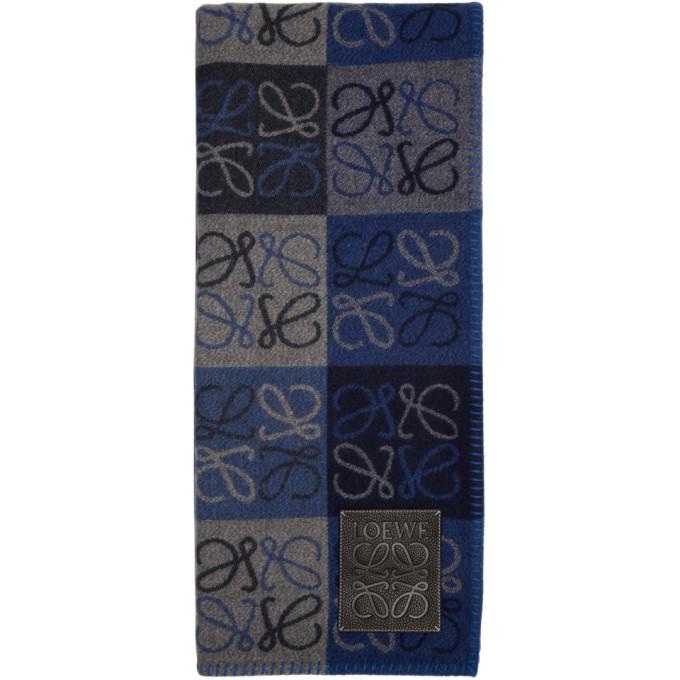 LOEWE Blue Check Anagram Blanket in 5625 Blu/Bl