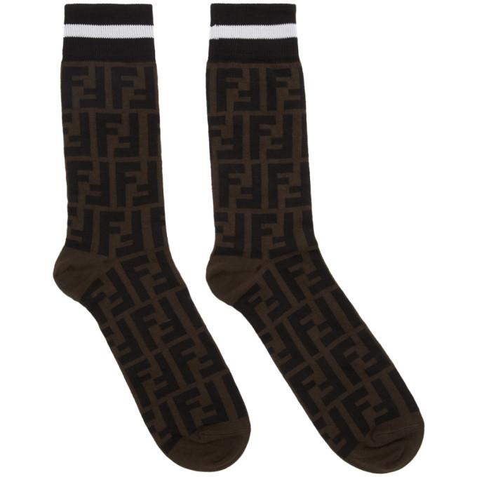 FENDI Brown & Black All Over Logo Socks