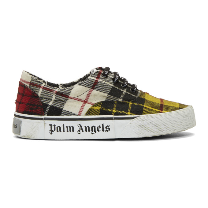 PALM ANGELS Distressed Tartan Sneakers in Yellow