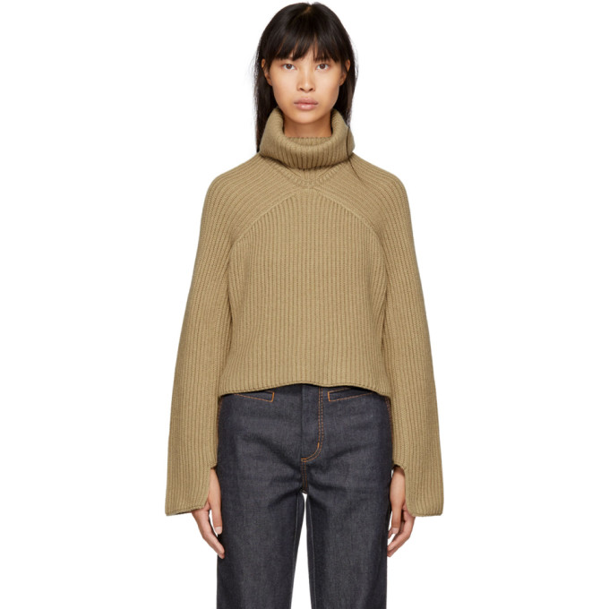 ROSETTA GETTY BEIGE CASHMERE TURTLENECK