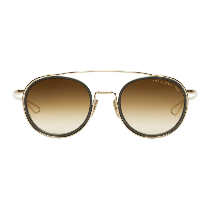 DITA GOLD AND BLACK SYSTEM TWO SUNGLASSES