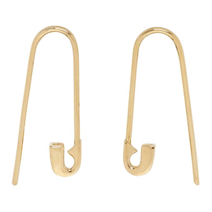 LAUREN KLASSEN GOLD TINY SAFETY PIN HOOK EARRINGS