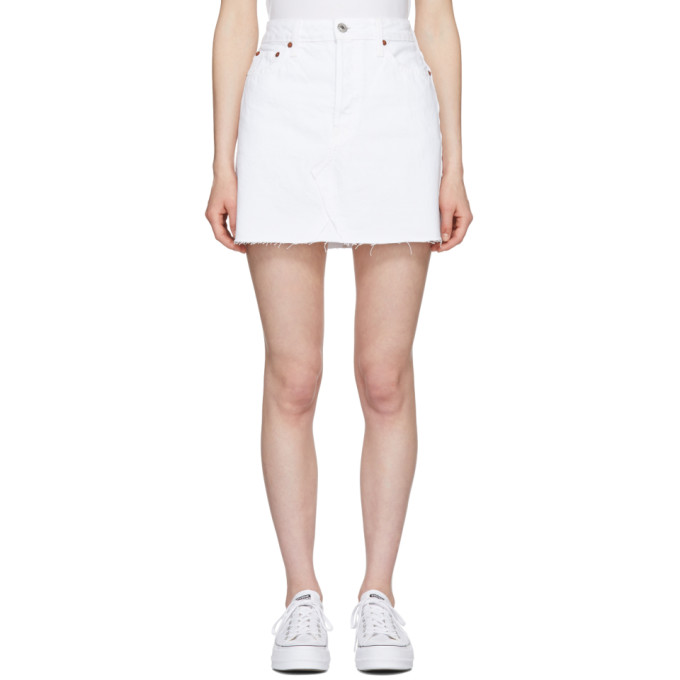 Mid-Rise Denim Mini Skirt, White