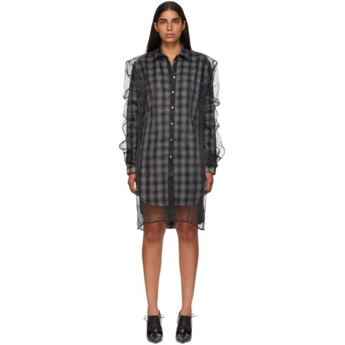 Y/project Y/PROJECT BLACK CHECK ORGANZA SHIRT DRESS