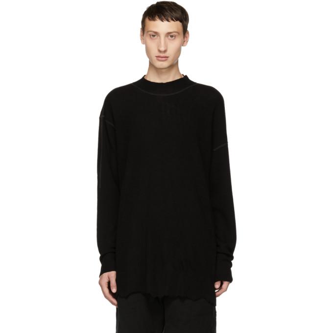 THE VIRIDI-ANNE Layered Cuff Wool Sweater in A-Black