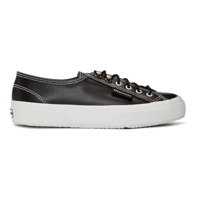 Black Superga Edition Leather Sneakers by Alexachung