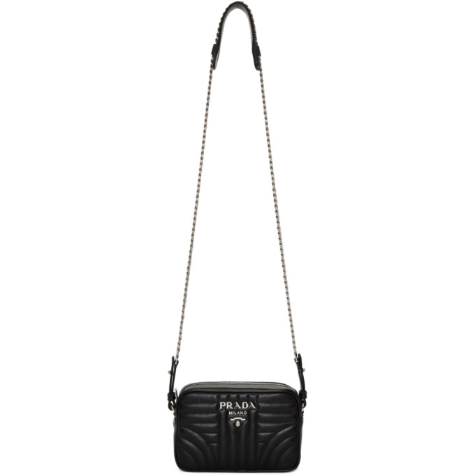 PRADA BLACK SMALL CAMERA CHAIN BAG