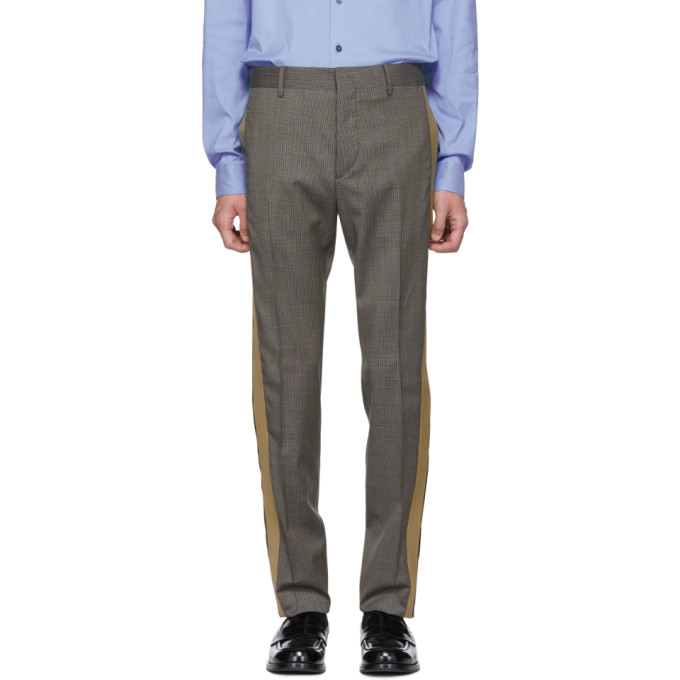 Grey & Beige Houndstooth Trousers by Prada