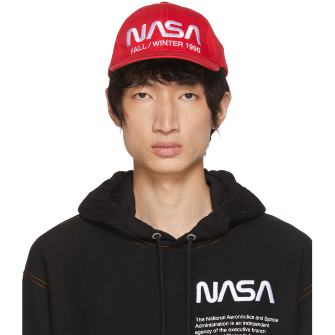 Nasa Embroidered Cotton Baseball Hat in Red